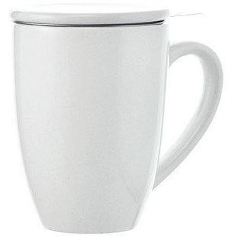 Tasse en céramique blanche avec infuseur à thé lystea