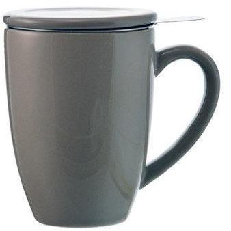 Tasse en céramique grise avec infuseur à thé lystea