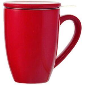 Tasse en céramique rouge avec infuseur à thé lystea